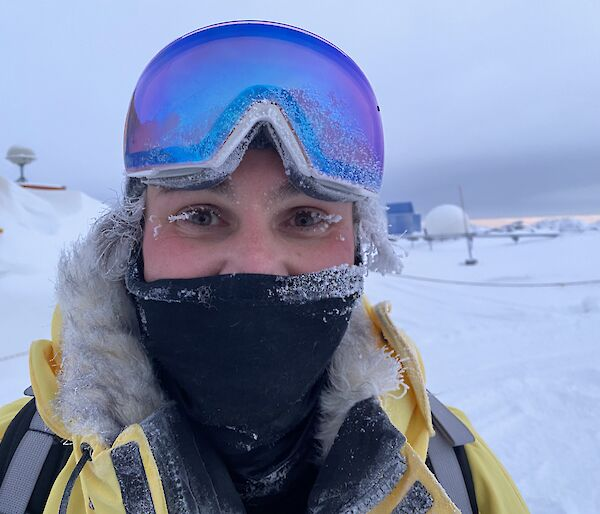 A frosty faced Justin back from sea ice drilling
