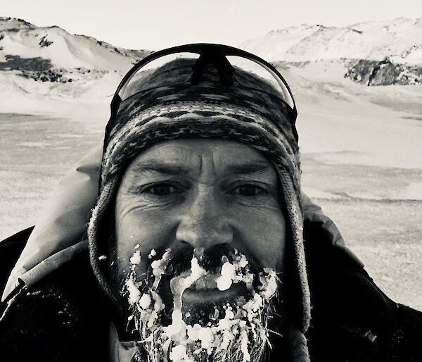 A man with frozen beard