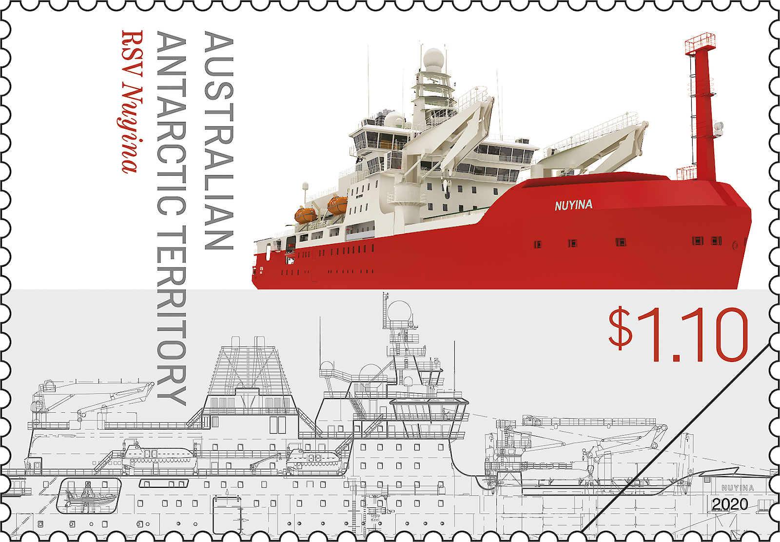 Design features of the ship illustrated on a $1.10 stamp.