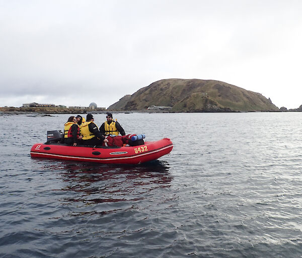 An IRB with expeditioners floating on the water. In the background The station and North Head can be seen,